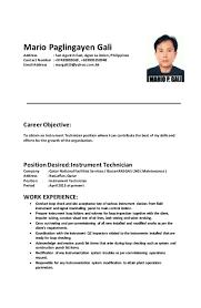 Position Desired Resume Mario Gali Cv