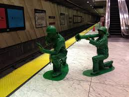 guy and his girlfriend dress as plastic army men for halloween