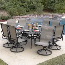 Swivel Rocker Patio Dining Sets La Salle 9 Sling Patio Dining Set With Swivel Rockers And