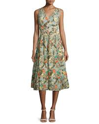 alice olivia jenn sleeveless floral embroidered dress