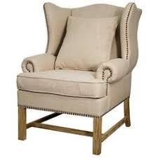 Chairs For Sitting Room - guinevere wing arm chair brushed smoke frame light sand burlap