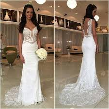 white lace mermaid cheap online long wedding dresses bg51522