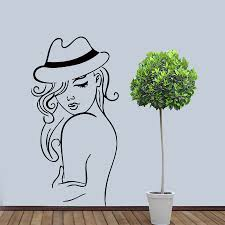 online get cheap salon sexy wall mural aliexpress com alibaba group sexy woman with hat beautiful wall mural salon decoration haircut home art wall decals sticker fashionable