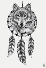 grey ink feathers and wolf design