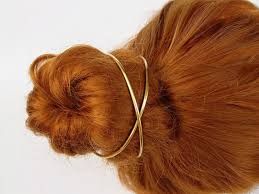 bun holder brass hair clip cross bun cuff bun holder hair cuff thick