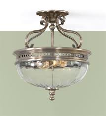 Bronze Ceiling Light Semi Flush Glass Ceiling Light With Two Brushed Bronze Clear Optic