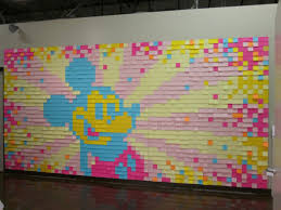 over 2000 post it notes make up this mickey mouse wall mural over 2000 post it notes make up this mickey mouse wall mural