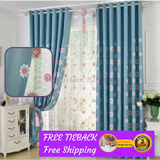 Blue Floral Curtains Sunflower Blue Floral Design Bedroom Door Curtain Fabric Drapes