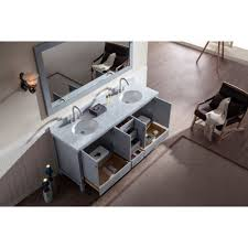 ace 73 inch double sink bathroom vanity set grey finish carrara