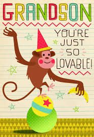 monkey birthday card for grandson greeting cards hallmark