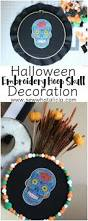 halloween door decoration embroidery hoop skull sew what alicia