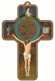 st benedict crucifix keepsake benedict crucifix brown with gold edge colored