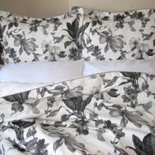 Linen Covers Gray Print Pillows White Walls Grey Simple Bedroom With Floral Bird Grey White Bedding Sets Wooden