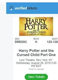 ticketmaster verified fan harry potter harry potter the cursed child nyc broadway 8 29 wed 4 tickets