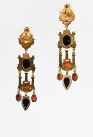 percossi papi earrings percossi papi gold tone black onyx coral pearl enamel cameo drop