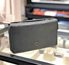 mens travel wallet images Coach crossgrain leather double zip travel wallet black f23334 ebay jpg