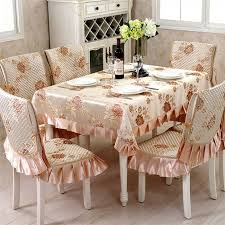 Elegant Chair Covers Elegant European Jacquard Flower Embroidered Dining Tablecloth