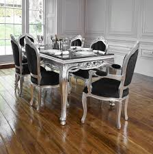 rococo french silver leaf dining table set with chairs chalk