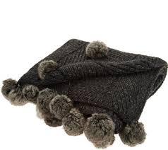 Qvc Home Decor Inspire Me Home Decor 50x60 Knit Throw W Faux Fur Details Page