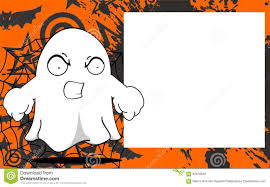 Halloween Drawings Easy Angry Ghost Halloween Cartoon Expressions Frame Background Stock