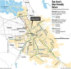 San Jose Bus Routes Map by Map San Jose Bike Routes Existing And Planned U2013 The Mercury News