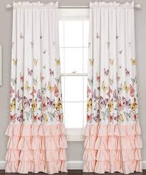 white u0026 pink ruffle accent butterfly curtain panel set of two