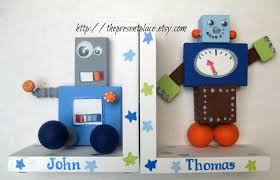 personalized bookends baby painted wooden robot bookends space themed