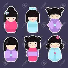 imagenes kawai de chicas conjunto de muñecas kokeshi colección de iconos de diseño plano de