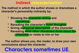 direct vs indirect characterization worksheet free worksheets