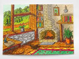 cottage art print drawing print card of a cottage interior
