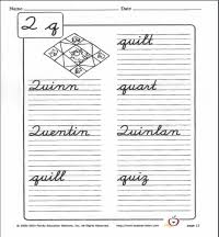 how to write q in cursive cursive writing worksheet teachervision