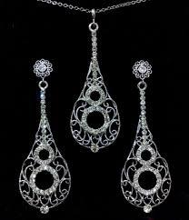 long silver crystal necklace images Bridal swarovski crystal necklace jpg