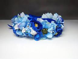 blue flower blue flower crown wreath artificial flowers wedding royal