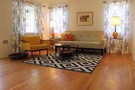 Living Room Rugs Modern Mid Century Modern Living Room With B W Rug Midcentury Living