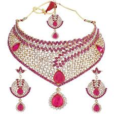 diamond necklace set images Attractive dark pink diamond necklace set jpg