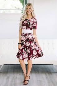 wine pink white floral floral modest summer dress cute modest