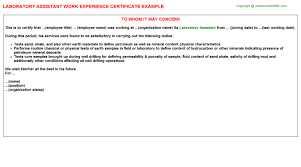 laboratory assistant work experience certificate