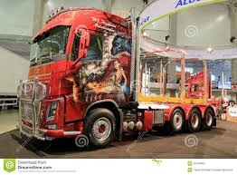 red volvo truck volvo fh16 show truck with airbrush paintings editorial
