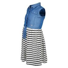 guess girls blue denim dress with black u0026 white striped skirt