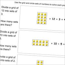 worksheets where students use grids to solve simple division word