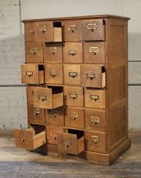 vintage industrial multi drawer oak wood storage apothecary