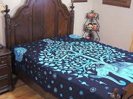 blue elephant tapestry bed sheet tree of life cotton ethnic