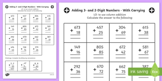 adding 3 numbers 3 and 2 digit numbers in a column worksheet year 3