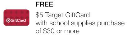 5 gift card target 5 or 10 gift card with 30 or 50 school supply purchase