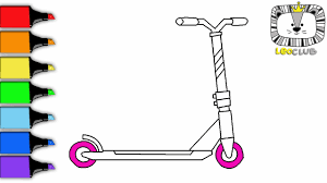 how to draw kick scooter learning coloring pages for kids