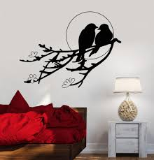 vinyl wall decal two birds sunset tree branch romance flowers