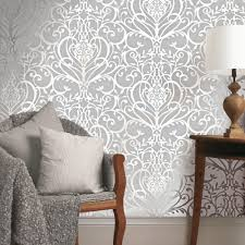 Silver Metallic Wallpaper by Exclusive Holden Statement Floral Damask Pattern Metallic Textured