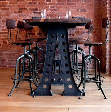 industrial bar table and stools vintage industrial style bar stool cabinet hardware room kitchen