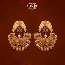 earrings in grt 22k gold chandbali earrings from grt south india jewels