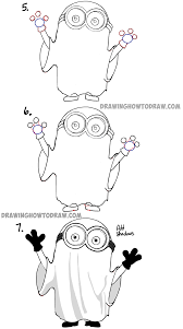 how to draw ghost minions for halloween and trick or treating